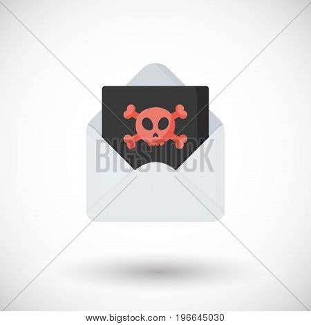 Hacking sign vector flat icon Flat design of envelope with skull with round shadow isolated on the white background cute vector illustration with reflections