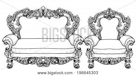 Baroque sofa and armchair with luxurious ornaments. Vector French Luxury rich intricate structure. Victorian Royal Style decors