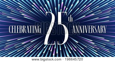 25 years anniversary vector icon, banner. Graphic design element or logo with abstract background for 25th anniversary