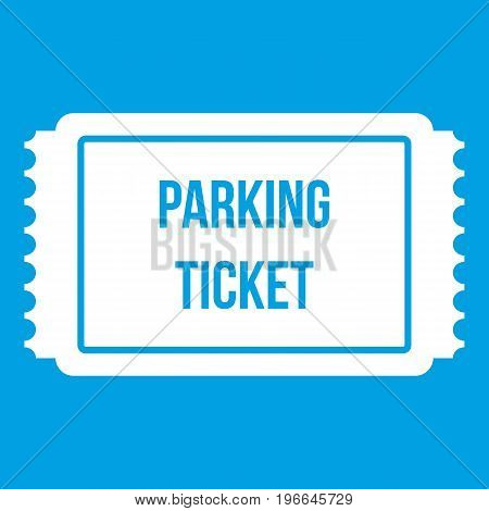 Parking ticket icon white isolated on blue background vector illustration