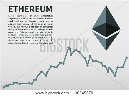 Ethereum flat icon for internet money. Crypto currency symbol and coin image. Currency exchange rate. Vector illustration