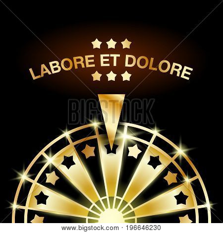 Wheel of Fortune. Golden casino gaming machine illustration.