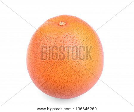 A whole single tropical grapefruit isolated over the white background. A close-up of a healthful and natural red grapefruit. Sour and bitter refreshing summer fruits.