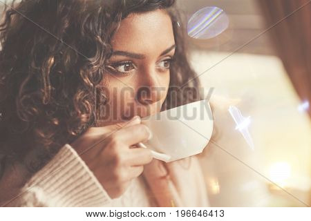 Tasty drink. Beautiful delighted afro american woman holding a cup and taking a sip of tea while spending time in the cafe