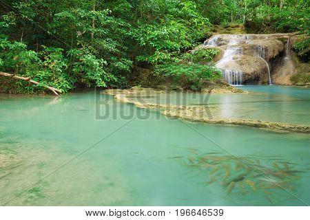 Level 1 Of Erawan Waterfall With Neolissochilus Stracheyi Fish In Kanchanaburi, Thailand