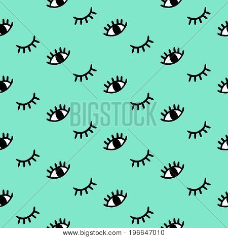 Vector hand drawn seamless pattern with open and winking eyes, eyelashes on mint background