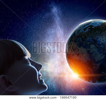 Exploring this great world . Mixed media