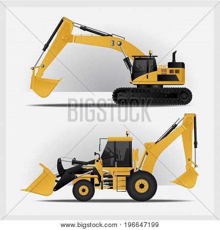 Construction Vehicles Truck isolated on white background Vector Illustration