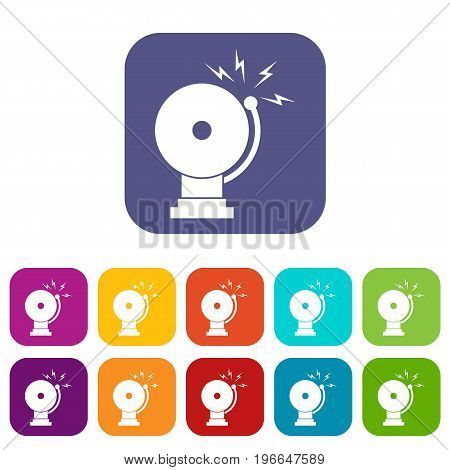 Fire alarm icons set vector illustration in flat style in colors red, blue, green, and other