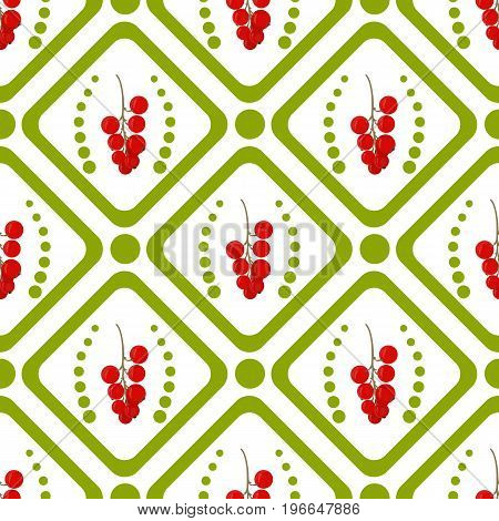 A green rhombus and a circle with a branch of red currant. Seamless pattern