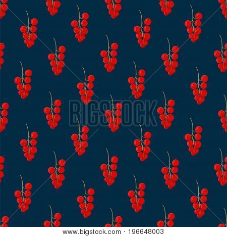 Green branch of a red currant berries on a dark background. Seamless pattern