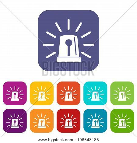 Flashing emergency light icons set vector illustration in flat style in colors red, blue, green, and other