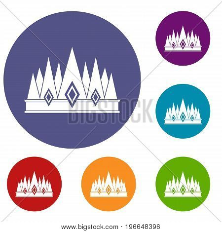 Crown icons set in flat circle red, blue and green color for web