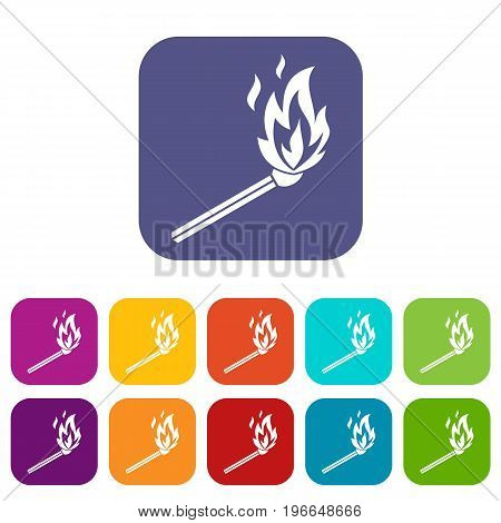 Match flame icons set vector illustration in flat style in colors red, blue, green, and other