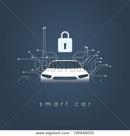 Smart intelligent car safety and security vector concept illustration. Digital security and protection against hacking. Eps10 vector illustration.