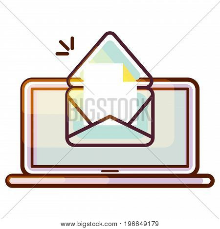 Tablet pc vector icon with e-mail message notification. Gradient color icon portable notebook device.