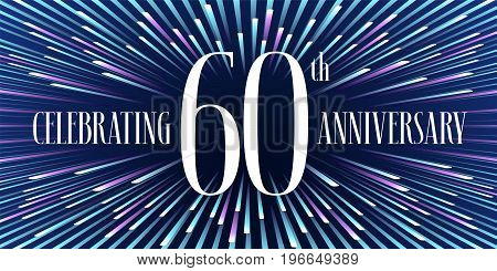60 years anniversary vector icon, banner. Graphic design element or logo with abstract background for 60th anniversary
