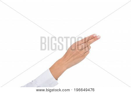 Cropped View Of Person Gesturing Signed Language Or Pointin Gaway, Isolated On White