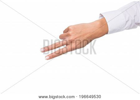 Cropped View Of Person Gesturing Signed Language Or Showing Two Sign, Isolated On White