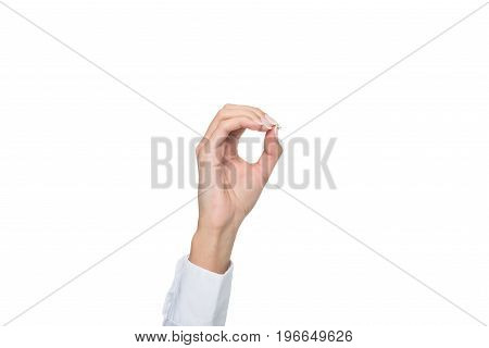 Cropped View Of Person Gesturing Signed Language, Isolated On White