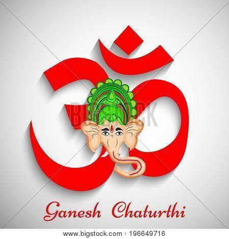 illustration of face of Hindu God Ganesh on Om background with Ganesh Chaturthi text on the occasion of Hindu Festival Ganesh Chaturthi