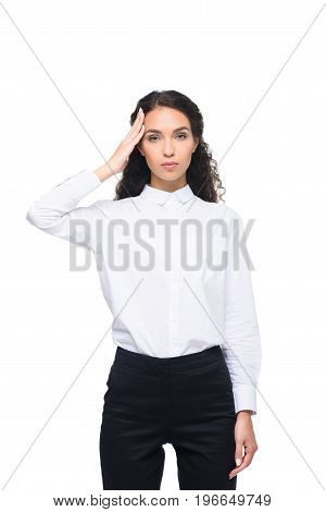 Serious Beautiful Tired Businesswoman With Headache, Isolated On White