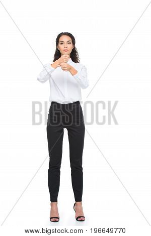 Beautiful Woman In Formalwear Standing And Gesturing Signed Language, Isolated On White