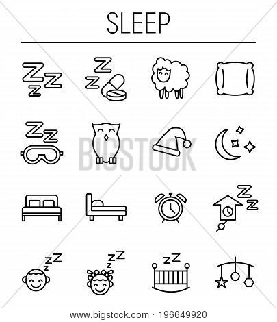 Set of sleep icons in modern thin line style. High quality black outline nap symbols for web site design and mobile apps. Simple sleep pictograms on a white background.