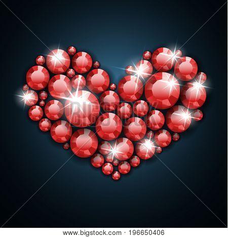 Red gemstone heart  - raster version