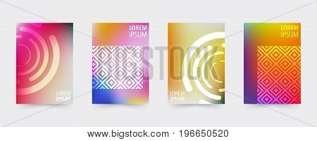 Geometric covers template set. Design cover for magazine printing products flyer presentation brochure or booklet. Vector illustration.