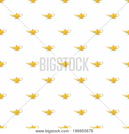 Gold magic lamp pattern seamless repeat in cartoon style vector illustration
