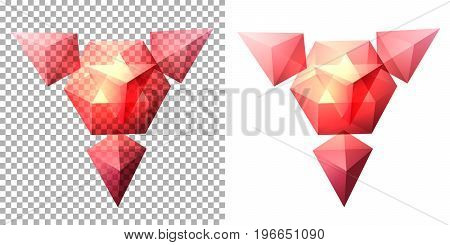 Vector transparent complex geometric shape based on tetrahedron. Pink
