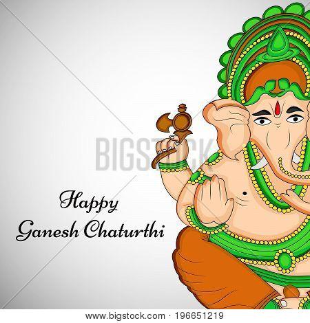 illustration of Hindu God Ganesh with Happy Ganesh Chaturthi text on the occasion of Hindu Festival Ganesh Chaturthi