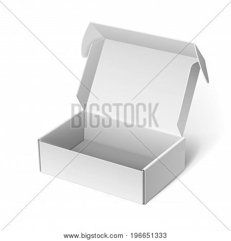 Realistic White Package Box Opened. For Software electronic device and other products. Vector illustration
