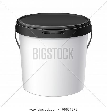 White plastic bucket with Black lid. Product Packaging For food foodstuff or paints adhesives sealants primers putty. MockUp Template For Your Design. Vector illustration.