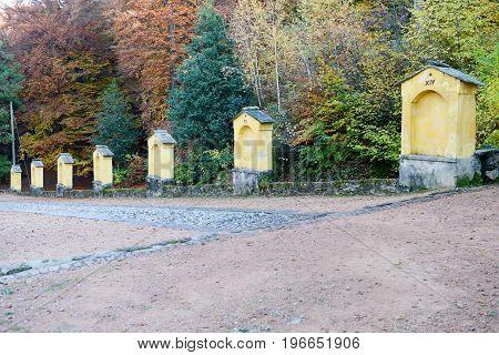 Autumnal Landscape Of The Via Crucis At Carona