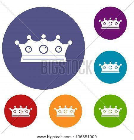 Jewelry crown icons set in flat circle red, blue and green color for web
