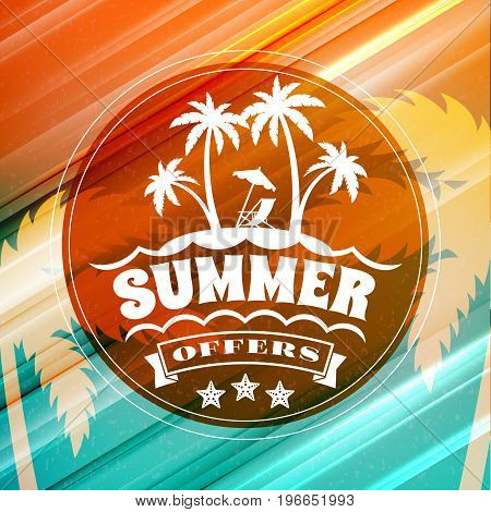 Summer Sale Banner. Typographic Retro Style Summer Poster With Textured Abstract Background. Summer