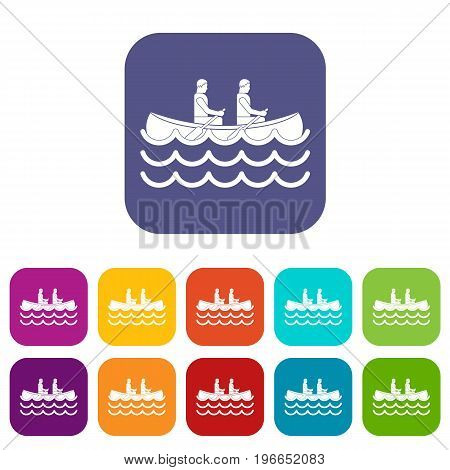Canoeing icons set vector illustration in flat style in colors red, blue, green, and other