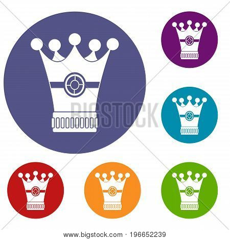 Medieval crown icons set in flat circle red, blue and green color for web