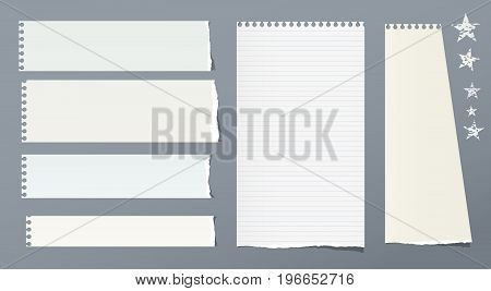 Ripped note, notebook, copybook vertical and horizontal paper strips with stars on grey background