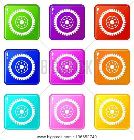 Gear wheel icons of 9 color set isolated vector illustration