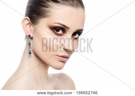professional luxury female makeup on white background with copy space