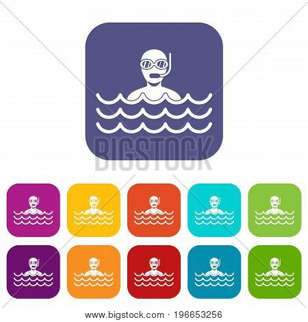 Man with scuba icons set vector illustration in flat style in colors red, blue, green, and other