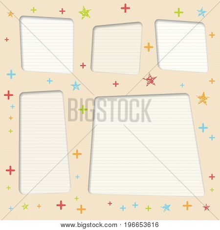 White ruled, striped copy paper, vector text boxes with colorful stars