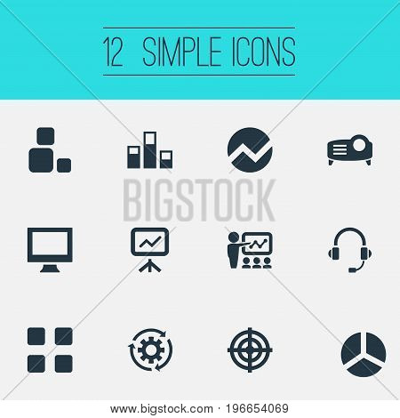 Elements Training, Projecting Device, Monitor And Other Synonyms Technology, Target And Report.  Vector Illustration Set Of Simple  Icons.