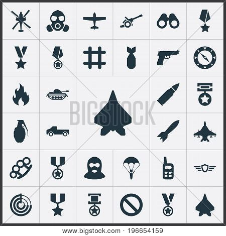 Elements Remuneration, Pickup, Grade And Other Synonyms Bullet, Artillery And Order.  Vector Illustration Set Of Simple Combat Icons.