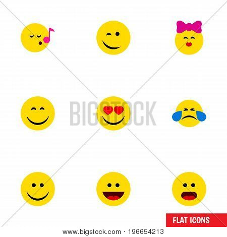 Flat Icon Face Set Of Laugh, Love, Joy And Other Vector Objects