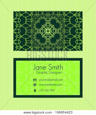 Two Sided Business Card .vector Template For Business, Invitation, Wedding, Banner , Flyer Or Greeti