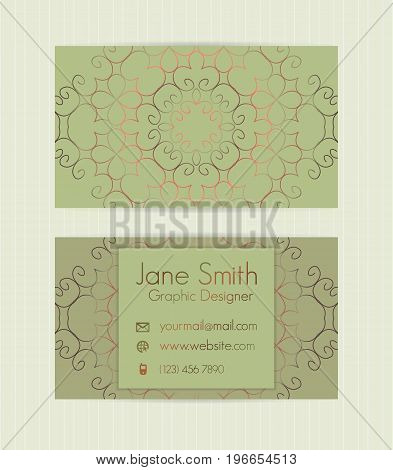 Two Sided Business Card With Golden, Metallic Decoration.vector Template For Business, Invitation, W
